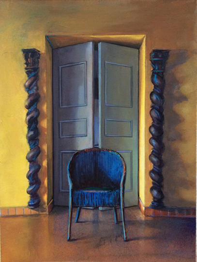 Kathleen E. Marshall - Lumani, Blue Chair, Gouache on paper