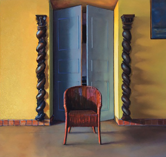 Kathleen E. Marshall - Lumani, Red Chair, Gouache on paper