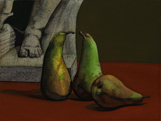 Kathleen E. Marshall - Three Conference Pears, Gouache on paper