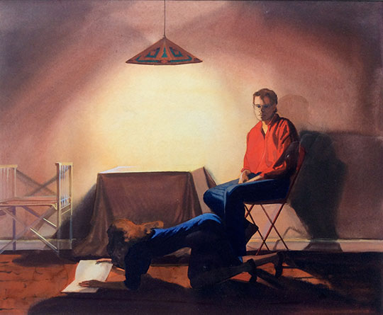 Kathleen E. Marshall - Seated Male - Female Reading, Gouache on paper