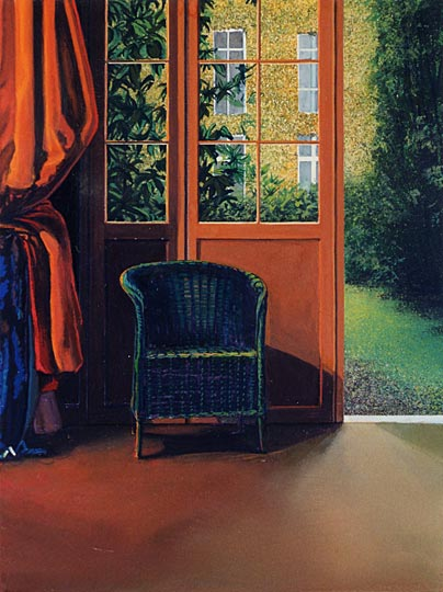 Kathleen E. Marshall - Green Wicker Chair - orange drape, Gouache on paper