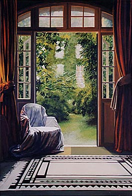 Kathleen E. Marshall - White Chair, black and white carpet, both doors open, Cherche Midi, Gouache on 100% rag paper